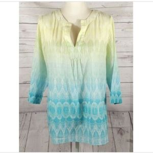 Chico's Yellow Green Blue Ombre Top Size 2